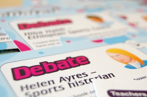 A close up photo of a character card in the Drugs in Sport debate kit